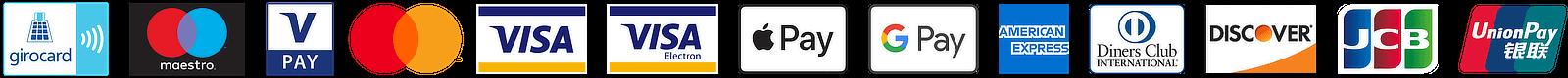 Logos aller akzeptierten Kreditkarten